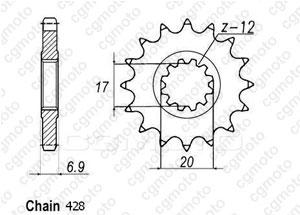 Kit chaine Yamaha Tzr 50 - Pas 428