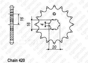 Kit chaine Yamaha Rd 80 Lc2